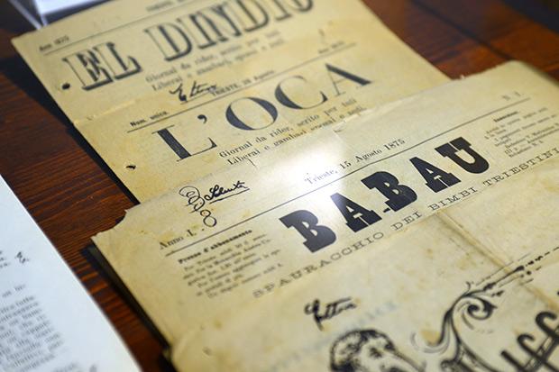"""Periodici triestini per ragazzi """"El Dindio"""", """"L'Oca"""", """"Babau"""", """"Ficcanaso"""","""